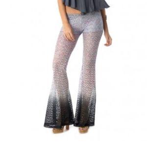 Sky Ombre Crochet Lace Style Bell Bottom Pants XS